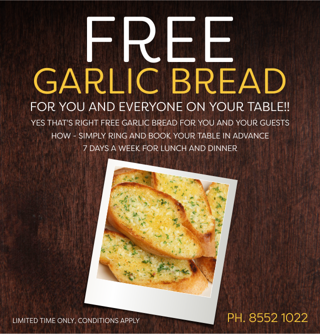 Free Garlic Bread at the Crown Hotel