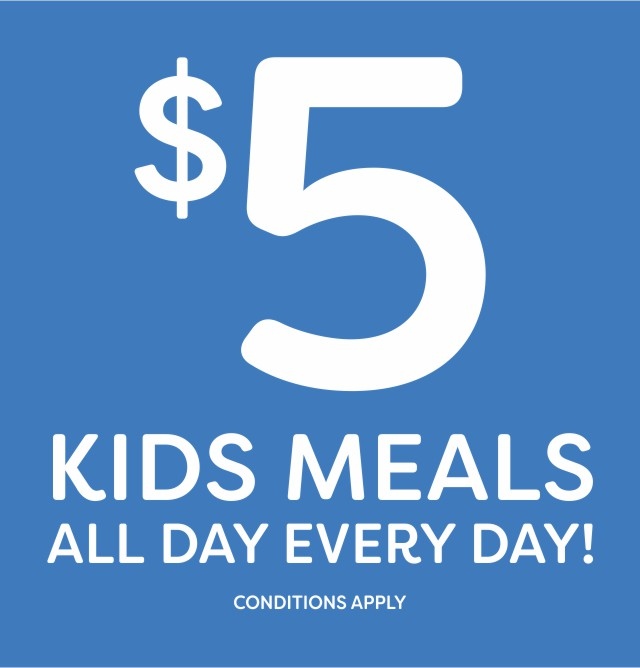 $5 Kids Meals all day every day at the Hotel Crown Victor Harbor