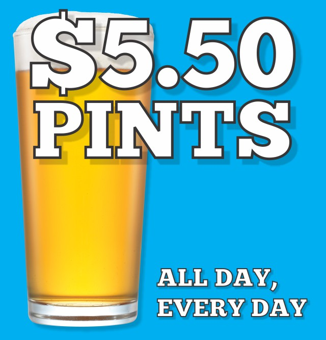 $5.50 Pints All Day Every Day at the Hotel Crown