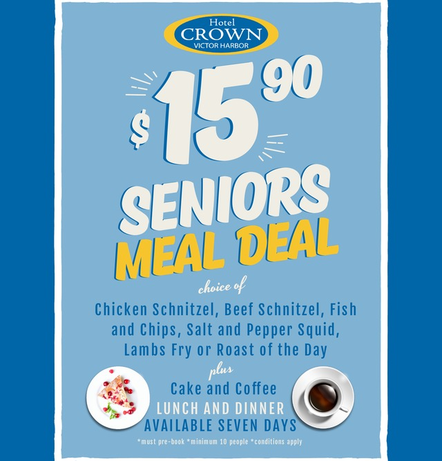 Seniors Meal Deal at the Hotel Crown Victor Harbor